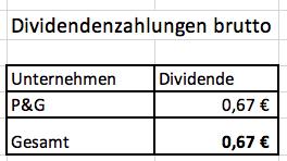 Meine Brutto-Dividende im August '19