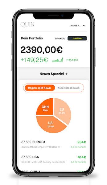 Monitor der Quin-App